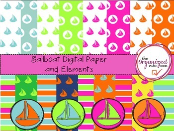 Sailboat Digital Paper and Elements