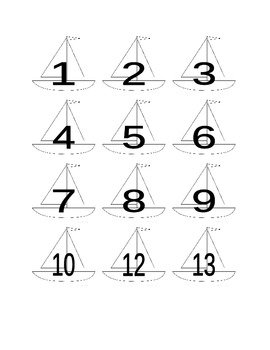 Sailboat Numbers for Calendar or Math Activity