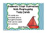 Sailboats 2 Digit Subtraction Regrouping Task Cards