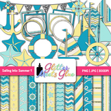Sailing Into Summer Clip Art, Frames & Scrapbook Paper {Sailboats, Starfish} 1