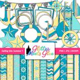 Sailing Into Summer Clip Art, Frames & Scrapbook Paper {Sailboats, Starfish} 1