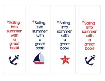 Sailing Into Summer! Nautical Themed Bookmarks