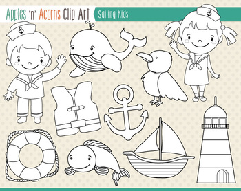Sailing Kids Clip Art - color and outlines