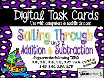 Sailing Through Unit 2 Addition & Subtraction Digital Boom Cards TEKS Aligned