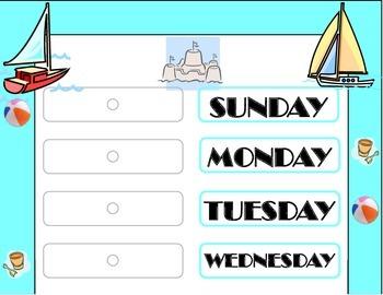 Sailing Weekday Chart! Sailboat Weekday Chart! Sailing Bul