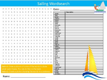 Sailing Wordsearch Sheet Starter Activity Keywords Cover Sports PE