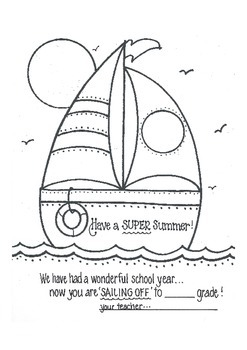 Sailing into Summer...note from teacher