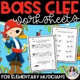 Bass Clef Worksheets for Music Class & Piano Lessons