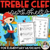 Treble Clef Worksheets for Music Class & Piano Lessons