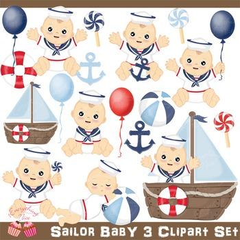 Sailor Baby 3 Clip Art Set