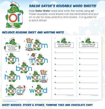 Sailor Gator's (or) R-Controlled Vowels Reusable Word Sheets