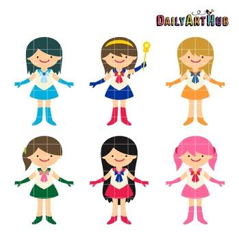 Sailor Girls Clip Art - Great for Art Class Projects!