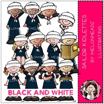 Sailor Kidlettes by Melonheadz BLACK AND WHITE