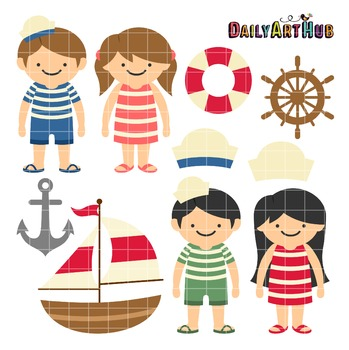 Sailor Kids Clip Art - Great for Art Class Projects!