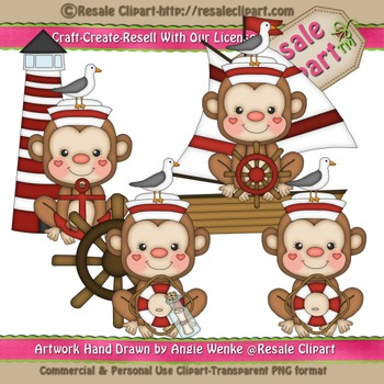 Sailor Monkey 1 ClipArt - Commercial Use