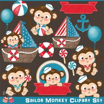 Sailor Monkey Monkeys Baby Clipart Set