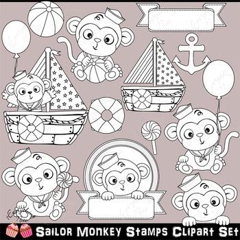 Sailor Monkey Monkeys Baby Clipart Set