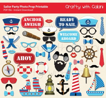 Sailor Party Photo Booth Prop, Nautical Party Photo Booth Prop Printable