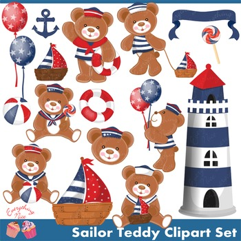 Sailor Teddy (Navy Blue) Clip Art Set