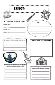 Sailor Theme All About Me Profile Poster (back to school)