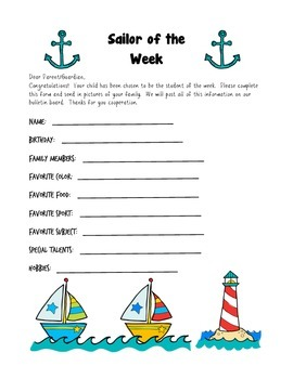 Sailor Themed Student of the Week
