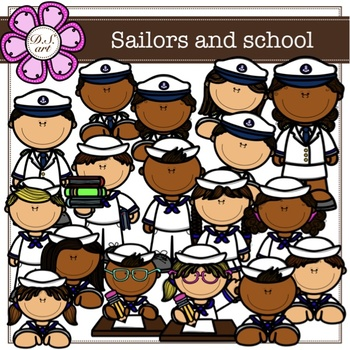 Sailors and school digital Clipart (color and black&white)