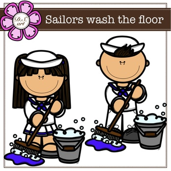 Sailors wash the floor digital Clipart (color and black&white