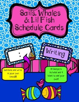 Sails, Whales and Lil' Fish Class Schedule Cards