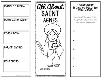 Saint Agnes Research Brochure Project with Interactive Notebook Pockets