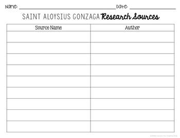 Saint Aloysius Gonzaga Research Brochure Project w/ Interactive Notebook Pocket