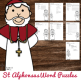 Saint Alphonsus Liguori Word Puzzles - No Prep Catholic Activity