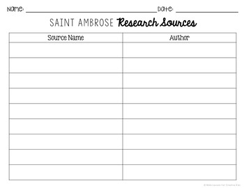 Saint Ambrose Research Brochure Project with Interactive Notebook Pockets