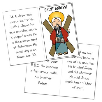 Saint Andrew Biography Mini Book in 3 Formats, Catholic Resources
