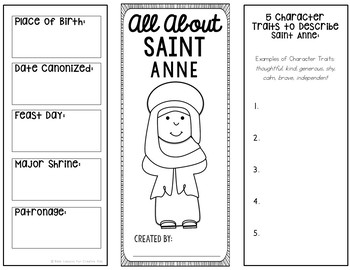 Saint Anne Research Brochure Project with Interactive Notebook Pockets