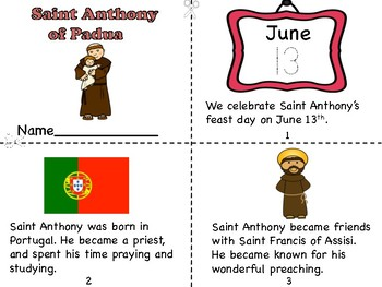 saint anthony mini bookpostercoloring page