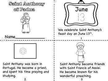 Saint Anthony Mini Book/Poster/Coloring Page