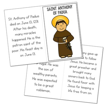 Saint Anthony of Padua Biography Mini Book in 3 Formats, Catholic Resources