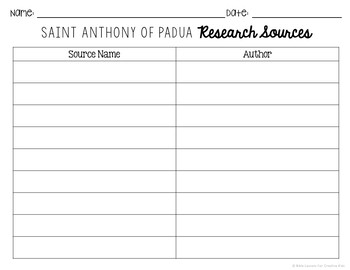 Saint Anthony of Padua Research Brochure Project w/ Interactive Notebook Pockets