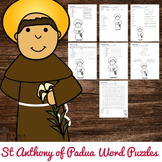 Saint Anthony of Padua Word Puzzles - No Prep Catholic Activities