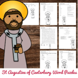 Saint Augustine of Canterbury Word Puzzles - No Prep Catholic Activity