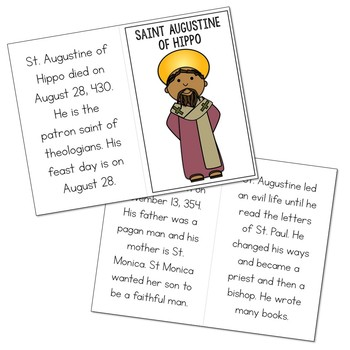 Saint Augustine of Hippo Biography Mini Book in 3 Formats, Catholic Resource