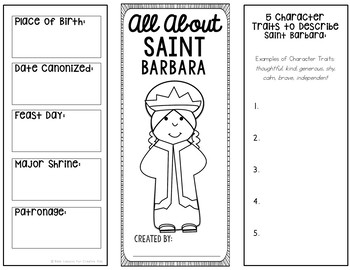 Saint Barbara Research Brochure Project with Interactive Notebook Pockets