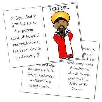 Saint Basil Biography Mini Book in 3 Formats, Catholic Resource