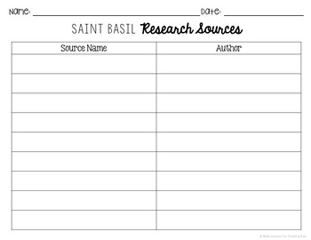 Saint Basil Research Brochure Project with Interactive Notebook Pockets