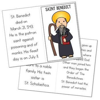 Saint Benedict Biography Mini Book in 3 Formats, Catholic Resource