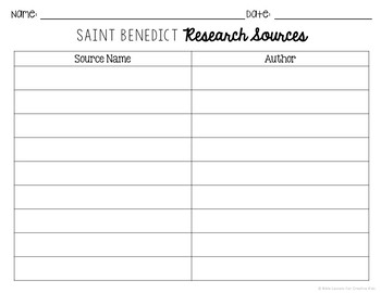 Saint Benedict Research Brochure Project with Interactive Notebook Pockets