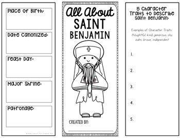 Saint Benjamin Research Brochure Project with Interactive Notebook Pockets