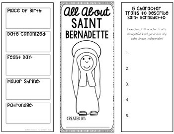 Saint Bernadette Research Brochure Project with Interactive Notebook Pockets