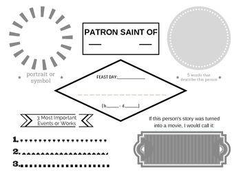 Saint Biography Sheet