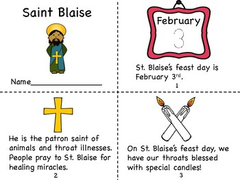 Saint Blaise Mini Book and Blessing of the Throats Coloring Pages